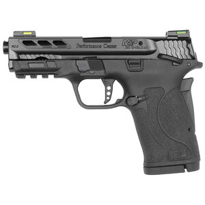 "S&W M&P380 M2.0 Performance Center .380 ACP Semi Auto Pistol 3.8"" Barrel 8 Rounds Ambidextrous Thumb Safety HI-Viz Litewave H3 Sights Ported Barrel and Slide Black"