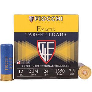 "Fiocchi Exacta Target Line International 12 Gauge Ammunition 25 Rounds 2-3/4"" 7.5 Shot 24 Gram Lead 1350fps"