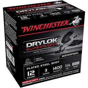 """Winchester Drylok Super Steel 12 Gauge Ammunition 25 Round Box 3"""" BBB Plated Steel Shot 1-1/4 oz 1400 fps"""