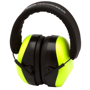 Pyramex VG80 Series Earmuff 25dB Noise Reduction Rating Adjustable Headband Black/Lime Green Accents