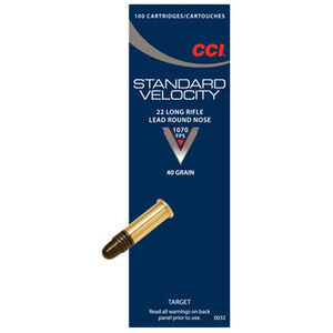CCI Standard Velocity .22 Long Rifle Ammunition 40 Grain Lead Round Nose 1070fps