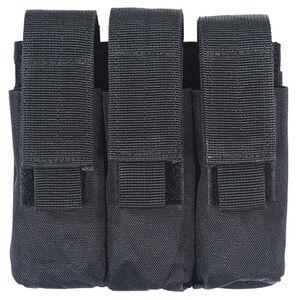 Voodoo Tactical Triple Pistol Magazine Pouch MOLLE Compatible Nylon Matte Black MS-20-7976-Black