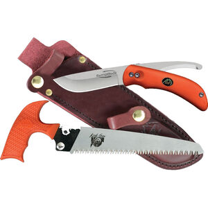 Outdoor Edge Swingblade Pak Knife/Saw Combo with Leather Sheath Blaze Orange