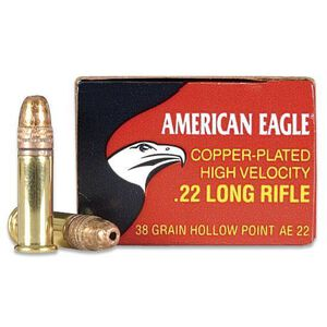 Federal American Eagle .22 LR Ammunition 38 Grain Copper Plated Hollow Point 1260 fps