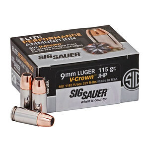 SIG Sauer Elite Performance V-Crown Ammunition 20 Rounds 9mm Luger 115 Grain V-Crown Jacketed Hollow Point Projectile 1185fps