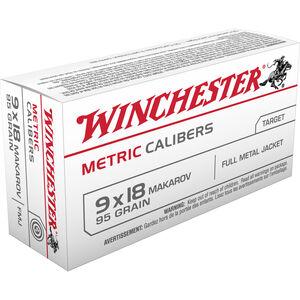 Winchester USA 9x18 Makarov Ammunition 1000 Rounds, FMJ, 95 Grain