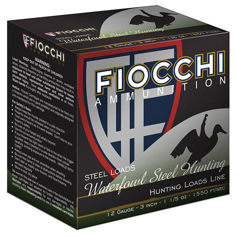 "Fiocchi Shooting Dynamics Waterfowl Steel Hunting 12 Gauge Ammunition 3-1/2"" T 1-3/8oz Steel Shot 1470 fps"