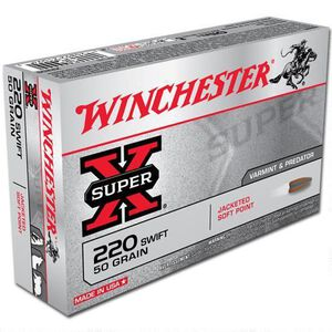 Winchester Super X .220 Swift Ammunition 200 Rounds, JSP, 50 Grain