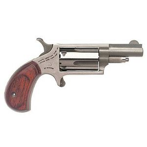 """NAA Mini Revolver .22 Magnum 1-5/8"""" Barrel 5 Rounds Rosewood Grips Stainless Steel"""