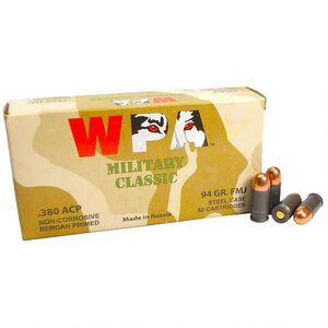 Wolf Military Classic .380 Auto Ammunition 94 Grain Bi-Metal FMJ Steel Cased 943 fps