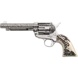 "Taylor's & Co. Inc. 1873 Cattle Brand .357 Mag Single Action Revolver 5.5"" Barrel 6 Rounds Blade Front Simulated Stag Horn Grip Engraved Nickel Finish"