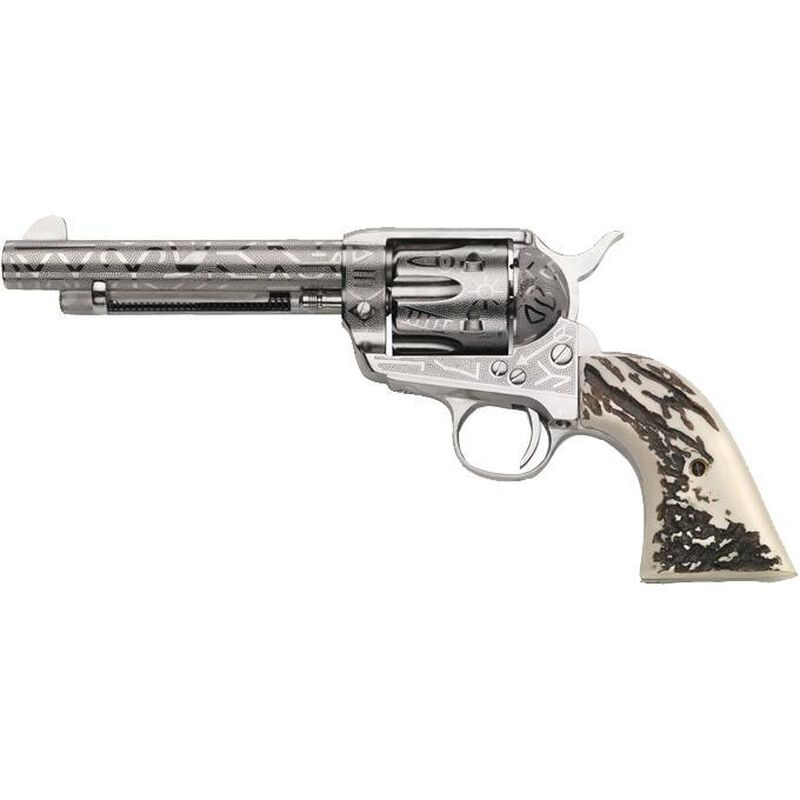 """Taylor's & Co. Inc. 1873 Cattle Brand .357 Mag Single Action Revolver 5.5"""" Barrel 6 Rounds Blade Front Simulated Stag Horn Grip Engraved Nickel Finish"""