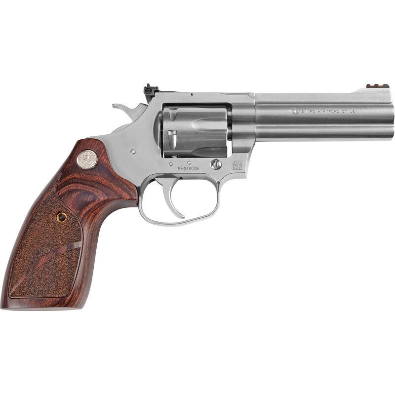 """Colt King Cobra Target .357 Magnum Revolver 4.25"""" Barrel 6 Rounds Altamont Wood Medallion Grips Matte Stainless Steel Finish"""