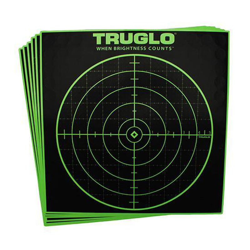 """TRUGLO 100 Yard Sight In Target, 12""""x12"""", Fluorescent Green, 12 Pack TG10A12"""