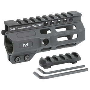 "Midwest Industries AR-15 Combat 4.50"" One Piece Free Float M-LOK Hand Guard 6061 Aluminum Hard Coat Anodized Matte Black"