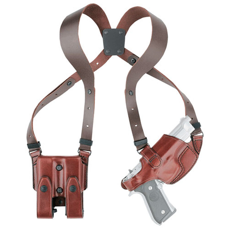 Aker Leather 101 Comfort-Flex S&W M&P 9mm/.40/.45 Shoulder Holster with Mag Pouch Right Hand Leather Plain Tan H101TPRU-MP4045