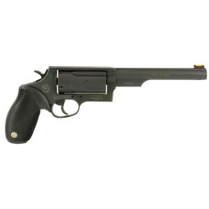 """Taurus Judge Magnum Double Action Revolver .45 Long Colt/.410 Bore 3"""" Chamber 6.5"""" Barrel 5 Round Fixed Red Fiber Optic Front Sight/Fixed Rear Sight Ribbed Rubber Grip Matte Black Finish"""