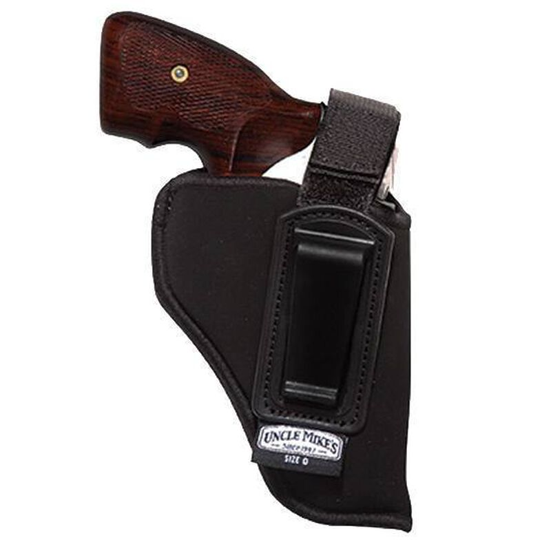 """Uncle Mike's IWB Holster With Retention Strap Size 0 2-3"""" Small/Medium Revolvers Right Hand Nylon Black 76001"""