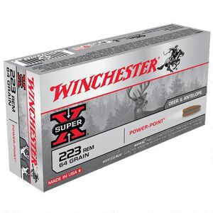 Winchester Super-X .223 Rem Ammunition 64 Grain Power-Point JSP 3020 fps
