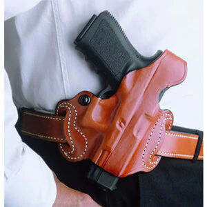 DeSantis Thumb Break Mini Slide Belt Holster Fits S&W M&P Shield with Integrated Laser Right Hand Leather Tan
