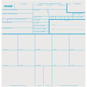 "Sirchie Applicant Fingerprint Cards 8"" X 8"" 100 Count FD258"