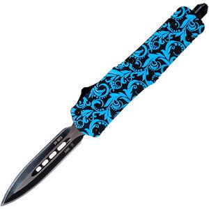 "Templar Knife Mini Teal Maiden 2.75"" Dagger Point Black SS Blade OTF Push Button Opening Pocket Clip Glass Breaker Aluminum Handle"
