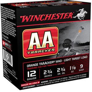 "Winchester USA AA TrAAcker Wad Light Target Load 12 Gauge Ammunition Orange Wad 2-3/4"" #9 Lead Shot 1-1/8 oz 1145 fps"