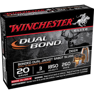 "Winchester Dual Bond 20 Gauge Ammunition 5 Rounds 3"" Sabot Slug 260 grains 1850fps"