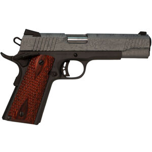 "Citadel 1911 A1 Madagascar .45 ACP Semi Auto Pistol 5"" Barrel 8 Rounds Full Size Government Profile Redwood Grips Laser Etched Gray Cerakote Slide Black Frame Finish"