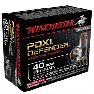 Winchester Defender .40 S&W Ammunition 20 Rounds, Bonded JHP, 180 Grain