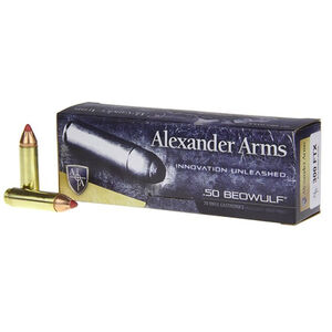 Alexander Arms .50 Beowulf Ammunition 20 Rounds 300 Grain FTX Flex Tip Projectile
