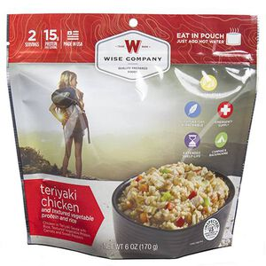 Wise Company Entrée Freeze Dried Dish Teriyaki Chicken and Rice Two Servings Per Pouch