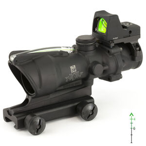 Trijicon ACOG 4x32 Scope with 3.25 MOA RMR Type 2 Dual Illuminated Green Chevron .223 Ballistic Reticle Picatinny Mount Aluminum Matte Black