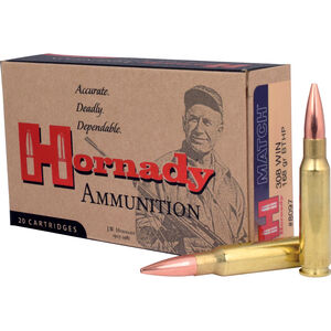 Hornady .308 Winchester Ammunition 20 Rounds Match BTHP 168 Grains 8097