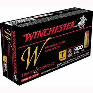 Winchester W Train and Defend .380 ACP Ammunition 95 Grain FMJ 950 fps