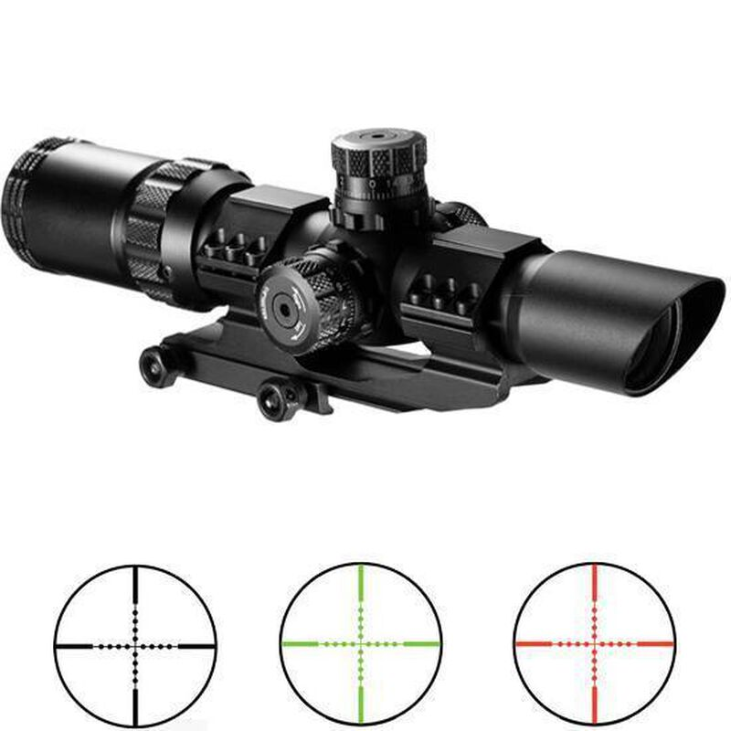 "Barska SWAT-AR 1-4x28 Riflescope Illuminated Mil-Dot Reticle Green/Red 1"" Tube Adjustable Brightness Flip Up Scope Caps Cantilever Mount AC11872"