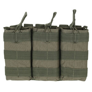 Voodoo Tactical AR-15/M4/M16 Open Top Triple Magazine Pouch Bungee Retention System PALS Webbing Compatible Nylon OD Green 20-8180004000