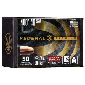 "Federal Hydra-Shok Bullets .40/10mm Caliber .400"" Diameter 165 Grain Hydra-Shok Jacketed Hollow Point Projectile 50 Count Per Box"