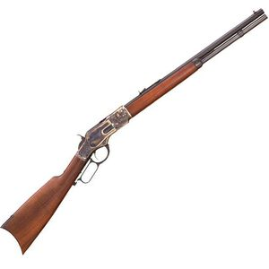 """Cimarron 1873 Deluxe Short Lever Action Rifle .45 LC 20"""" Barrel 10 Rounds Case Hardened Receiver Walnut Stock Blued CA281"""