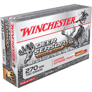Winchester Deer Season XP Copper Impact .270 Win Ammunition 20 Rounds 130 Grain LF Solid Copper Poly Tip 3000fps
