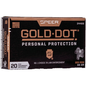 Speer Gold Dot Rifle Personal Protection .223 Rem Ammunition 55 Grain GDSP 3220fps