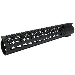 "TacFire LR-308 Ultra Slim Keymod Free Float Clamp-On Handguard 12"" Aluminum Black HG02-308-12"