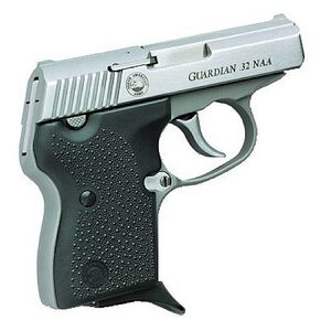 "NAA Guardian Semi Auto Handgun .32 NAA (Not .32 ACP)  2.49"" Barrel 7 Rounds Rubber Grips Stainless Finish"
