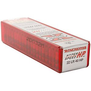 Winchester Super-X Hyper Velocity .22LR Ammuntiion 40 Grain Copper Plated HP 1435 fps