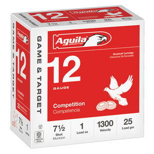 "Aguila Game & Target 12 Gauge Ammunition 25 Rounds 2-3/4"" Length 1 Ounce #7.5 Shot 1300fps"