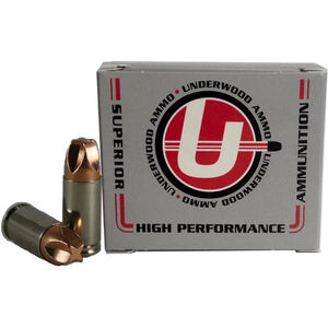 Underwood Ammo 9mm Luger +P Ammunition 20 Round Box 65 Grain Solid Copper 1800 fps