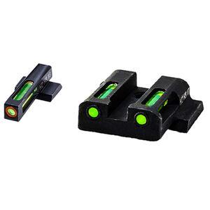 HiViz Litewave H3 Tritium/Litepipe fits M&P Shield Models Green Front Sight with Orange Front Ring/Green Rear Sight Steel Housing Matte Black