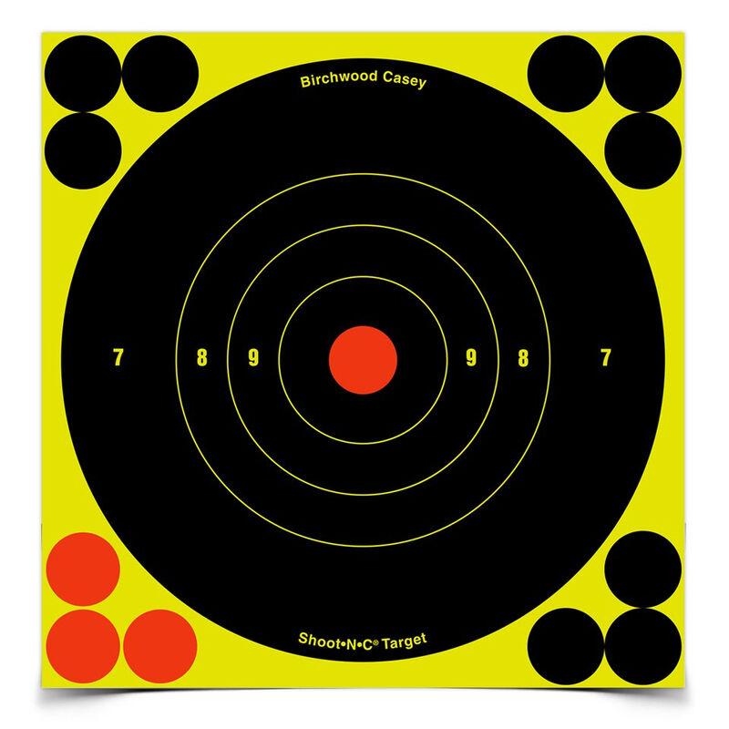 """Birchwood Casey Shoot-N-C 6"""" Bull's Eye Self-adhesive Reactive Paper Target Indoor/Outdoor Repair Pasters 60 Pack"""