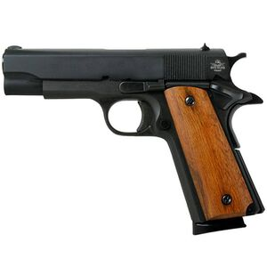 "Rock Island Armory 1911 GI Midsize Semi Automatic Pistol .45 ACP 4.25"" Barrel 8 Rounds Smooth Wood Grips Parkerized Finish 51417"