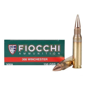 Fiocchi Shooting Dynamics .308 Win Ammunition 150 Grain FMJ BT 2890 fps